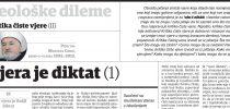 Dr. Mustafa Cerić: Kritika čiste vjere (II): Vjera je diktat (1)